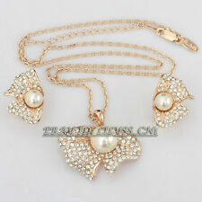 B1-S3043 Fashion Butterfly Pearl Earrings & Necklace Jewelry Set 18KGP Crystal