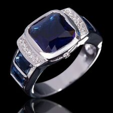 Fashion 18K Gold Filled Size 8,9,10,11 Men AAA Blue Sapphire Charm Jewelry Rings