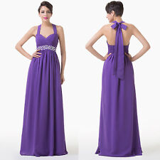 Halter Long Bridesmaid Wedding Evening Party Cocktail BALL Gown Purple Dress