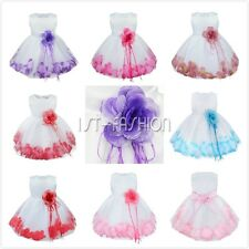 Girls Tulle Petals Skirt Wedding Pageant Bridesmaid Party Birthday Flower Dress