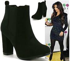 LADIES BLACK HIGH HEEL PIXIE SUEDE PULL ON ELASTIC ANKLE BOOTS SHOES