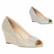 New Women's Bridal Wedding Party Glitter Rhinestone Peep Toe Wedge Pump HALF-3