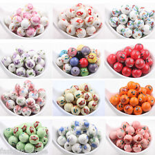 10/20Pcs Colorful Flower Pattern Ceramic Loose Spacer Charm Round Beads Making