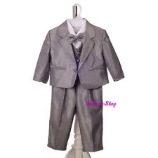 5pcs Set Silver Grey Formal Suits Christening Wedding Baby Boys Size 6-18M ST038