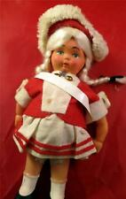 "Vintage  6.5"" Celluloid Dutch Parade Doll  Red and White Dress and Hat Blonde"