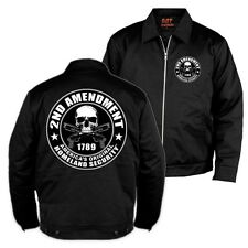 2nd Amendment MECHANICS JACKET Skulls Motorcycle Guns Biker Work Coat Second