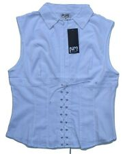 Womens Cotton Sleeveless Shirt Casual Top/ Blouse Size 8-14