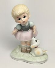 Vintage Bisque Porcelain Little Girl with Dog Puppy Figurine - Very Cute!