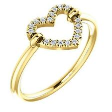 14K Gold Diamond Open Heart Ring