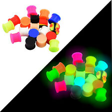 Pair Soft Silicone Ear Plug Solid Tunnel Ear Gauge Double Flare-Glow in the Dark