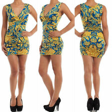 S M L Dress Floral Tropical Retro Crossover Sleeveless Stretch Ruched Mini New