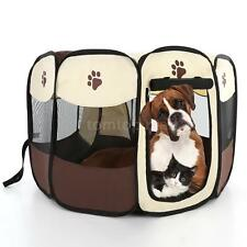 2 Size Pet Portable Play Pen Exercise Kennel Tent Dog Cat Folding Crate New Q8J8