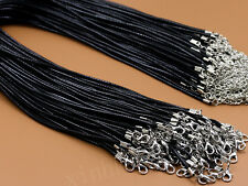 Wholesale Retail 1.5mm Black Leather Chain Lobster Clasp Wax Rope Cord Necklace