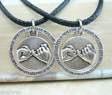 PINKY PROMISE Pair Of Pendants Necklace Set Friendship Best Friends Couples 2pcs
