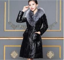 Womens Fur Collar Winter Duck Down Coat Hooded Long Jacket Slim Warm Thick Parka