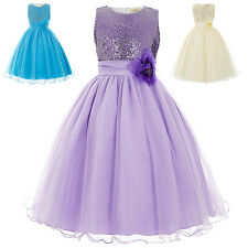 Purple Girls Bridesmaid Wedding Pageant Party Dance Dress Tutu Flower Girl Dress