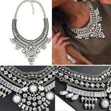 Women Pendant  Crystal Choker Chunky Bib Statement Chain Necklace Jewelry