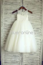 Flower Girls Floral Lace Tulle TUTU Party Wedding Prom Pageant Bridesmaid Dress