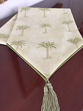 Waverly Tropical Pale Yellow Tahiti Palm Trees Table Runner by ThemeRunners