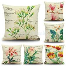Shabby Chic Cotton Linen Throw Pillow Case Cushion Cover Sofa Bed Flower Print