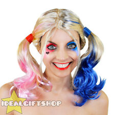 PINK BLUE HAIR BUNCHES BLONDE WIG HARLEQUIN COSPLAY SQUAD ADULTS FANCY DRESS