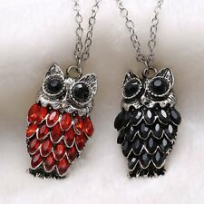 Owl Animal Red Ruby Blue Sapphire Crystal Tibet Silver Pendant Necklace Jewelry