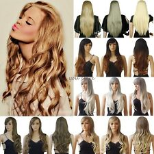 100% Real Thick Wig Long Curly Straight Full Hair Wigs Cosplay Party Fancy Dress