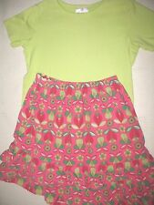 HANNA ANDERSSON GIRLS PINK FLORAL SKIRT & GREEN TEE SIZE 8-10 (130) EUC