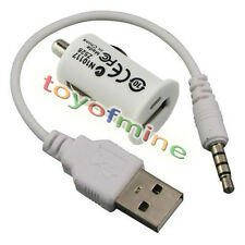 3.5mm Plug USB Data Sync/Charging Cord For IPOD SHUFFLE 2ND GEN +LED Car Charger