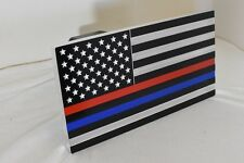 Thin Red Line and Thin Blue Line Combo - Aluminum Trailer Hitch Cover