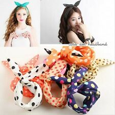 Women Lady Girl Headband Ribbon Rabbit Bunny Ear Scarf Bow Tie Hair Band Hot