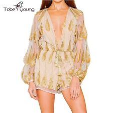 Sexy Plunge Vneck Puff Sleeve See Thru Feather Embroidery Short Jumpsuit Rompers