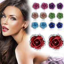 Chic Rose Flower Rhinestone Crystal Colorful Ear Stud Pierced Ladies Earrings