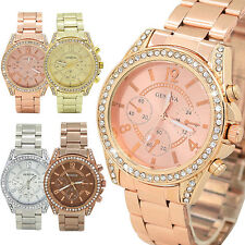 Womens Fashion Geneva Crystal Stainless Steel Analog Quartz Wrist Watch Seraphic