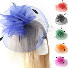 handmade feather wedding ascot races party veil large facinator hair clips women