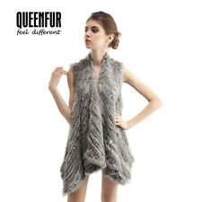 Queenfur Real Rabbit Fur Irregular Vest Winter Fur Waistcoat Rabbit Fur Gilet