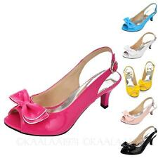 peep toe High Heels Office Shiny Bow Sandals patent womens large size shoes 0-13