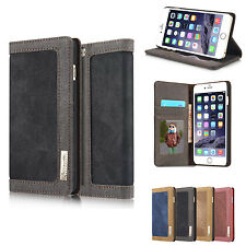 Canvas Leather Magnetic Wallet Card Flip Stand Case For iPhone 5s SE 6 6s Plus