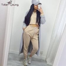 2pc Women Long Sleeve Sweatshirt Cropped Top Hoodie Pants Trousers Set Tracksuit