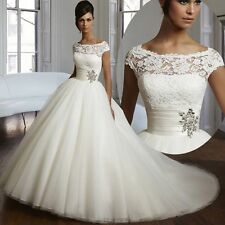 New Ball Gown Organza and Tulle Lace Cap Sleeve Wedding Dresses Bridal Gown