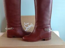Christian Louboutin Cate Brown Leather Chain Knee High Tall Flat Boots 37 $1295