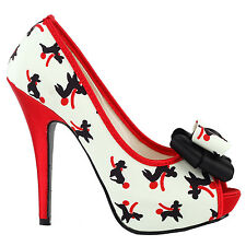 Cute Puppy Pattern Bow Peeptoe Platform Stiletto Pump Shoes Size 4/5/6/7/8/9/10