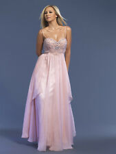 Dave & Johnny 7608 Pink Chiffon Beaded Gala Prom Gown sz 16