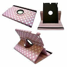 PINK POLKA DOT LEATHER 360 DEGREE ROTATING COVER FOR IPAD AIR WITH SLEEP WAKE