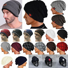 Mens Womens Beanie Hat Baggy Wool Cap Autumn Winter Warm Knitted Ski Hat Unisex
