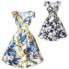 Women Vintage V Neck Floral Evening Party Rockabilly Casual Swing Pinup Dress