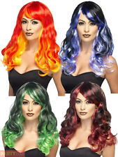 Adult Ladies Ombre Wig Red Devil Green Witch Halloween Fancy Dress Accessory