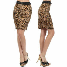Skirt Leopard S M L Pencil High Waist Belted Stretch Animal Print Fashion New