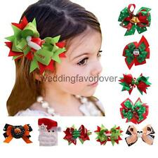 Xmas Halloween Party Big Hair Bow Clips Satin Ribbon Bow Girls Hair Accessories