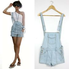 WomensJeans Overall Shorts Casual Romper Vintage Washed Denim Jumpsuit Playsuit